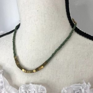 Noonday Gold & Green Beaded Beaded Necklace Choker